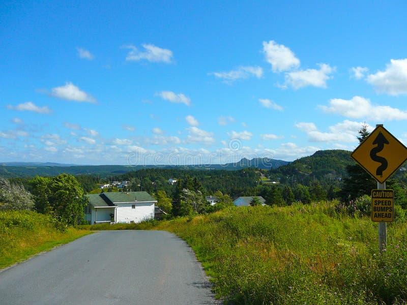 Strada a St John dalla baia di Cuper, Terranova immagine stock libera da diritti