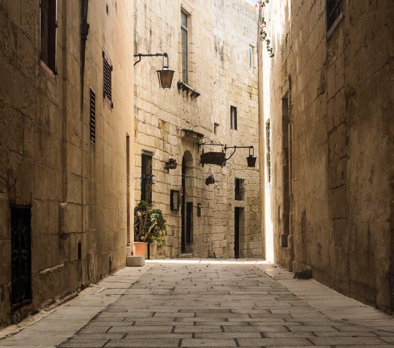 Strada stretta in Mdina fotografia stock libera da diritti
