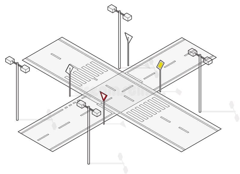 Strada, traffico della via, grafico di informazioni, crossway della giunzione su fondo bianco illustrazione vettoriale