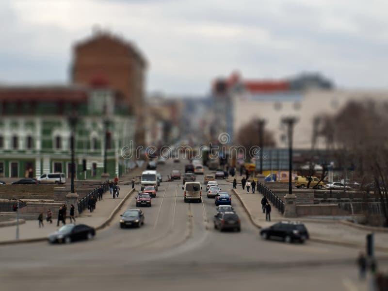 Strada trasversale della città Tecnica dello spostamento di inclinazione fotografia stock