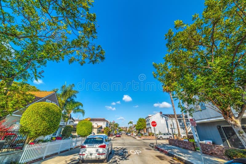 Strada trasversale spiaggia sull'isola della balboa, Newport fotografie stock libere da diritti
