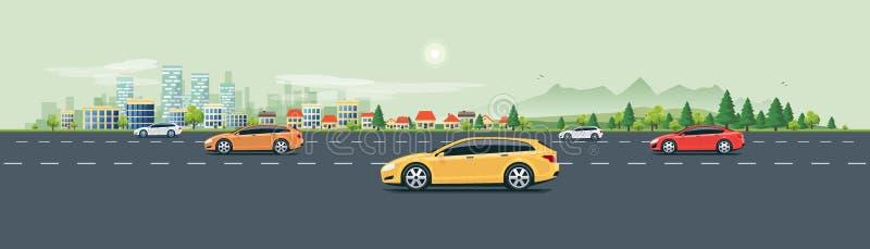 Strada urbana della via del paesaggio con le automobili ed il fondo della natura della città illustrazione vettoriale