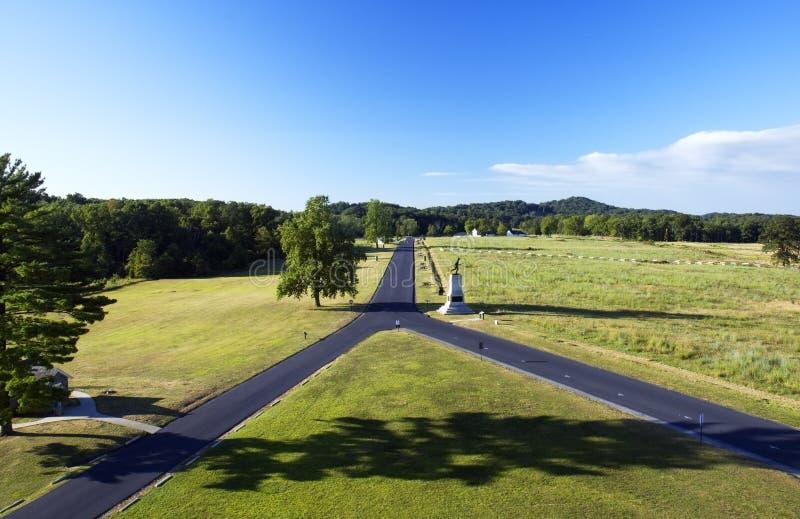 Strada a y del campo di battaglia di Gettysburg Pensilvania fotografia stock