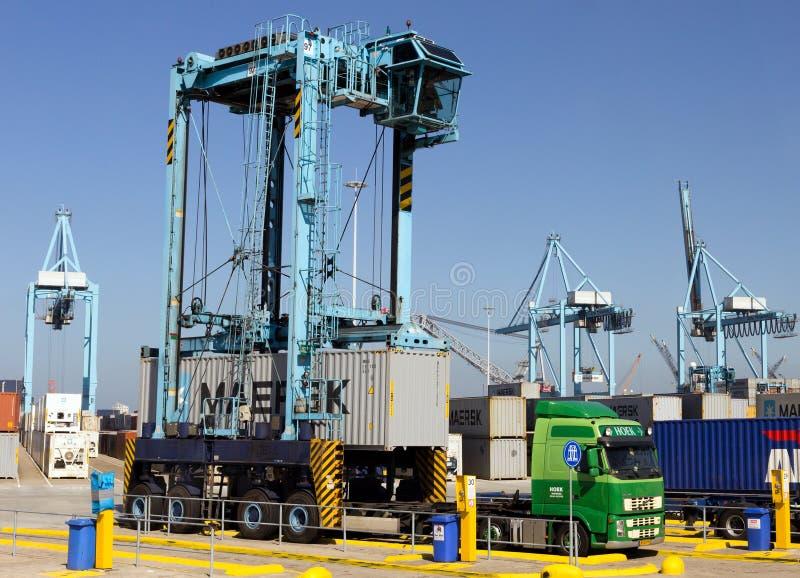 Straddlefördermaschinencontainerfahrzeug stockfotos