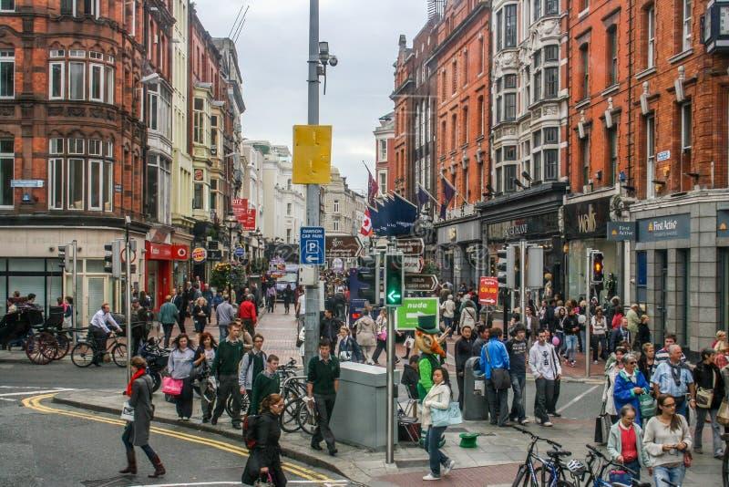 Strade affollate di Dublino, Irlanda fotografia stock libera da diritti