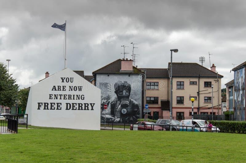 Strade della pittura della parete in Derry (Londonderry) immagini stock libere da diritti