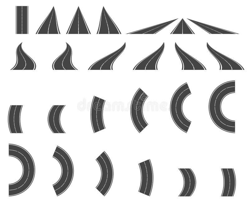 Strade di piegamento ed alti modi La strada curva la progettazione geometrica, stree illustrazione vettoriale