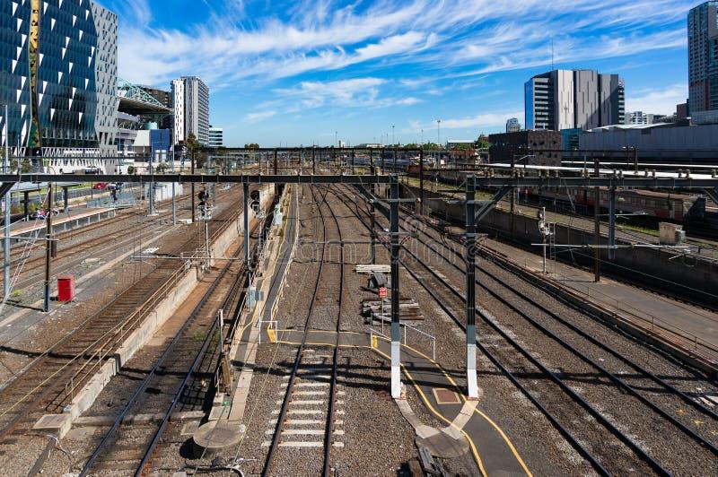 Strade ferrate del hub del trasporto alla ferrovia s dell'incrocio del sud immagini stock libere da diritti