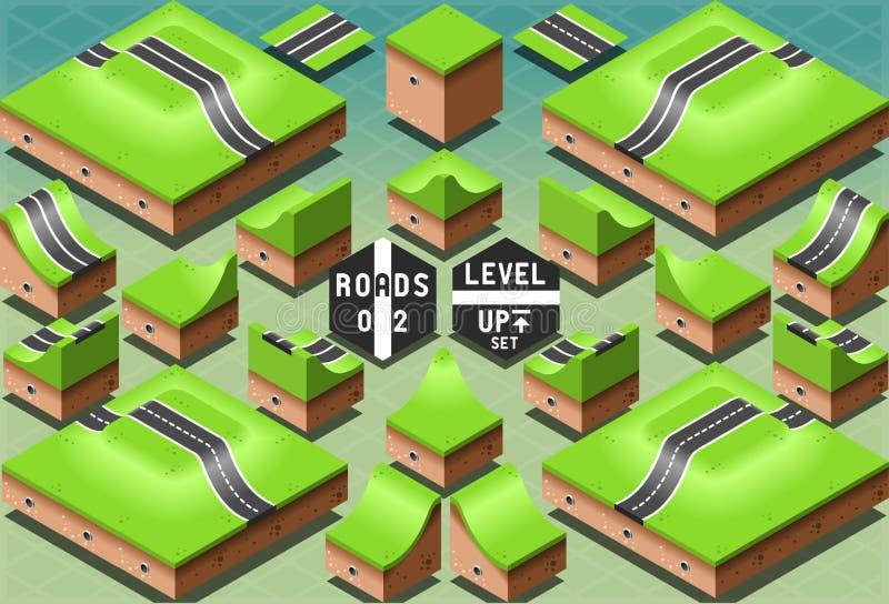 Strade isometriche su un terreno di due livelli illustrazione di stock
