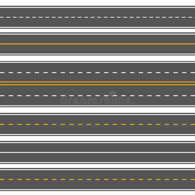 Strade senza cuciture diritte orizzontali Strade principali ripetitive dell'asfalto moderno Asfalto diritto senza cuciture, via d illustrazione vettoriale