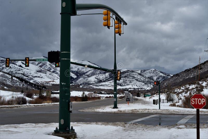 Strade trasversali nell'inverno - Utah immagini stock libere da diritti