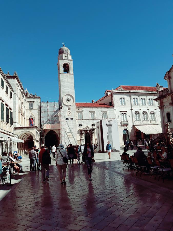 Stradun Dubrovnik, Kroatien royaltyfri fotografi