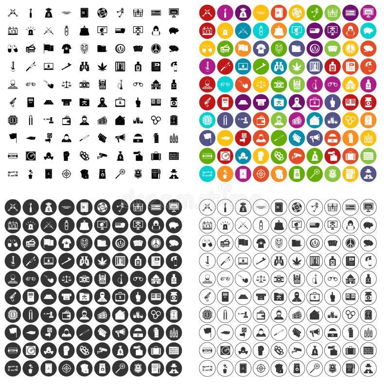 100 strafbaar feitpictogrammen geplaatst vectorvariant royalty-vrije illustratie