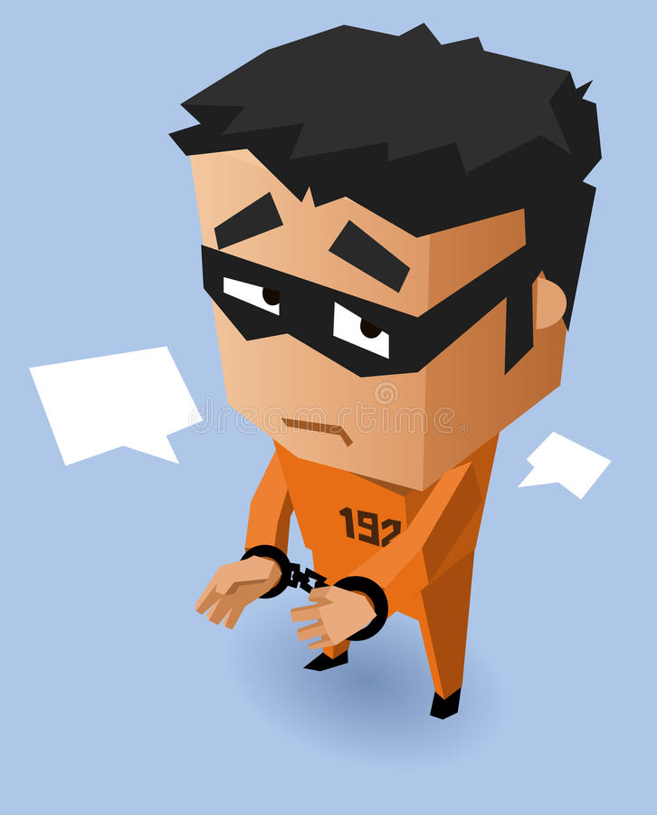 Straffånge på den orange likformign royaltyfri illustrationer