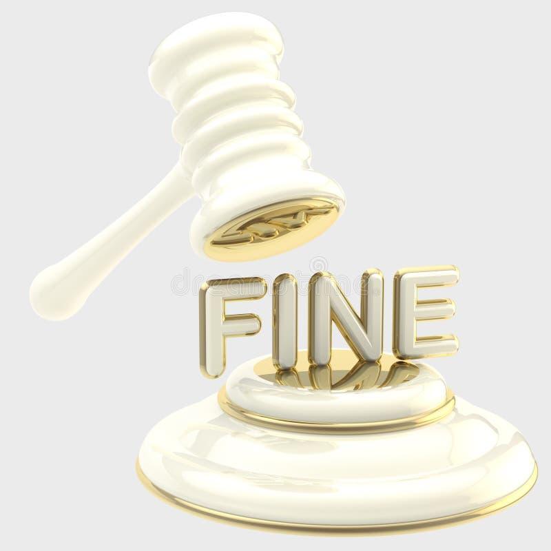Straff: auktionsklubba som bryter ord stock illustrationer