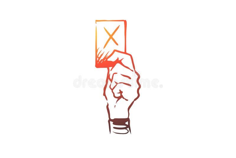 Straff domare, bestraffning, lag, symbolbegrepp Hand dragen isolerad vektor royaltyfri illustrationer
