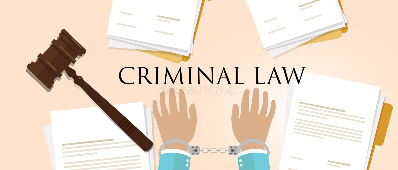 Straffrätt handbok om rättsliga brott och hammare stock illustrationer