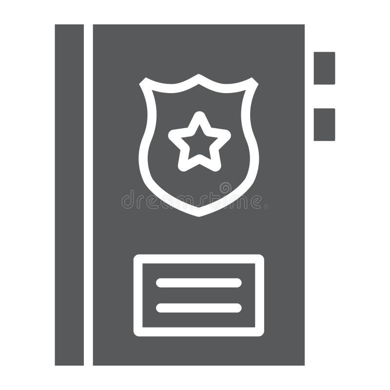 Straffregisterskårasymbol, anmärkning och lag, polisrapporttecken, vektordiagram, en fast modell på en vit bakgrund vektor illustrationer