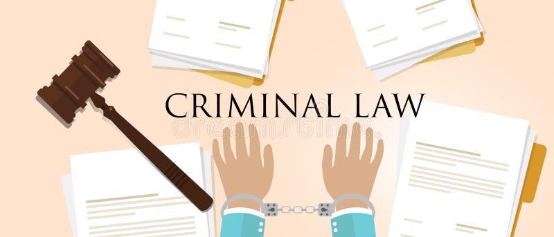 Strafrecht Handschellen und Hammer für Rechtskriminalität stock abbildung