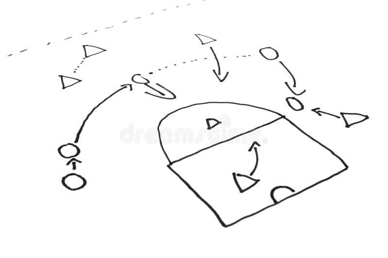 Stragegy plan of ball game stock image