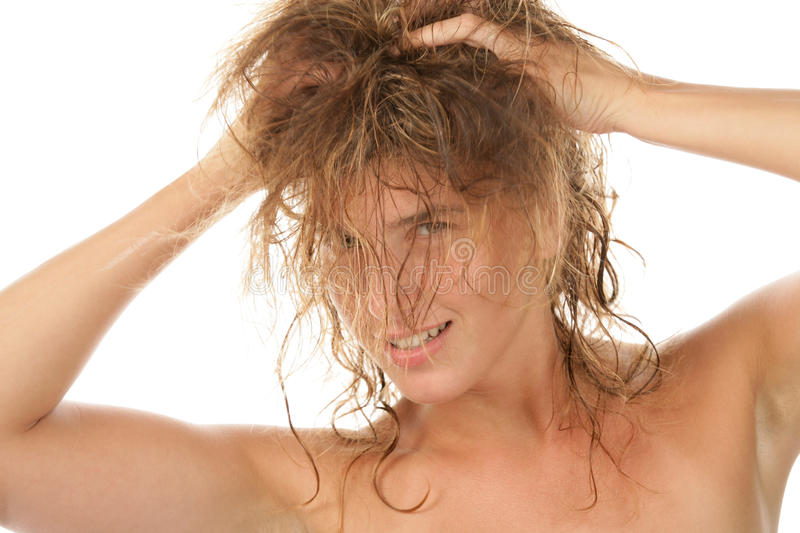 Straggle haired woman stock photos