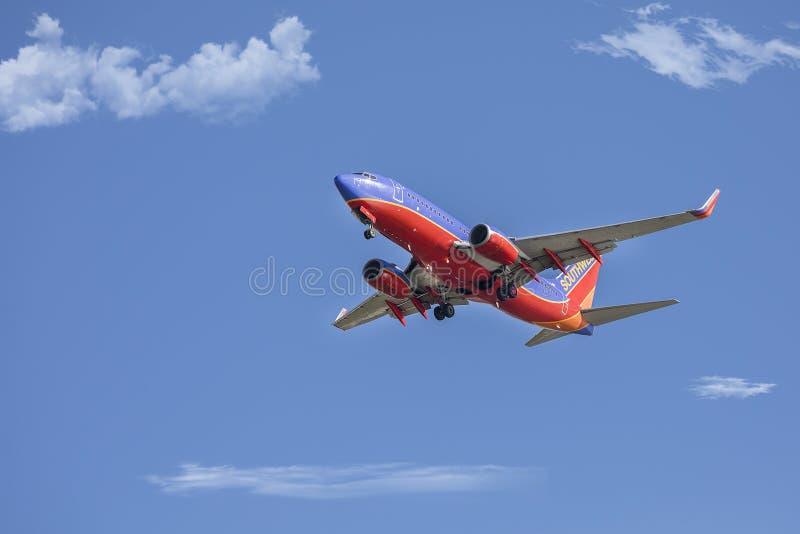 Strahl Southwest- Airlinesboeing 737 stockfoto