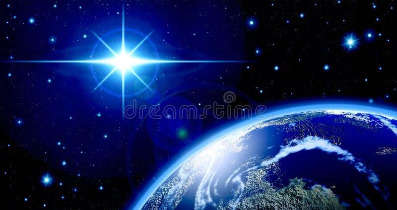 Strahlen des blauen Sternes, Raum, Sterne, Strahlen, Helligkeit, Planet, Astronomie, Wissenschaft, sternenklarer Himmel, Universu stock abbildung