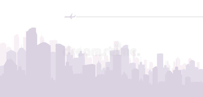 Strahlen-Flugzeug in der Stadt lizenzfreie abbildung