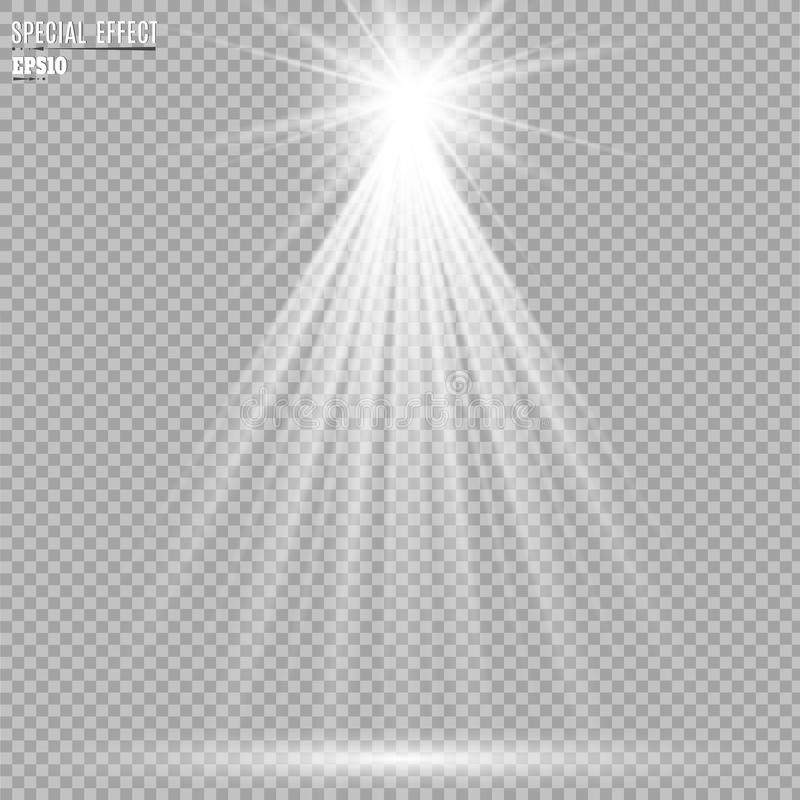 Strahlt Lichteffekte der Szene an Auch im corel abgehobenen Betrag lizenzfreie abbildung