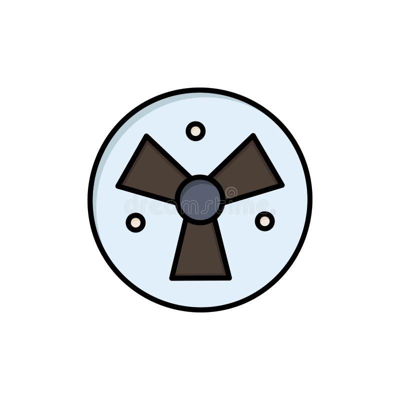 Strahlung, Warnung, medizinisch, Fan-flache Farbikone Vektorikonen-Fahne Schablone stock abbildung