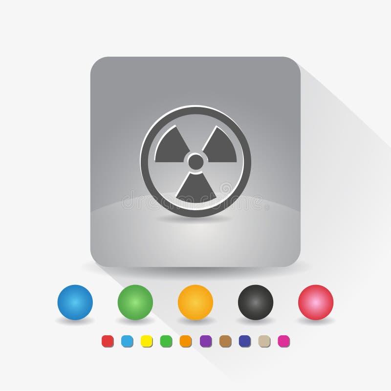 Strahlungssymbolikone Zeichensymbol App in der runden Ecke der grauen quadratischen Form mit langer Schattenvektorillustration un vektor abbildung