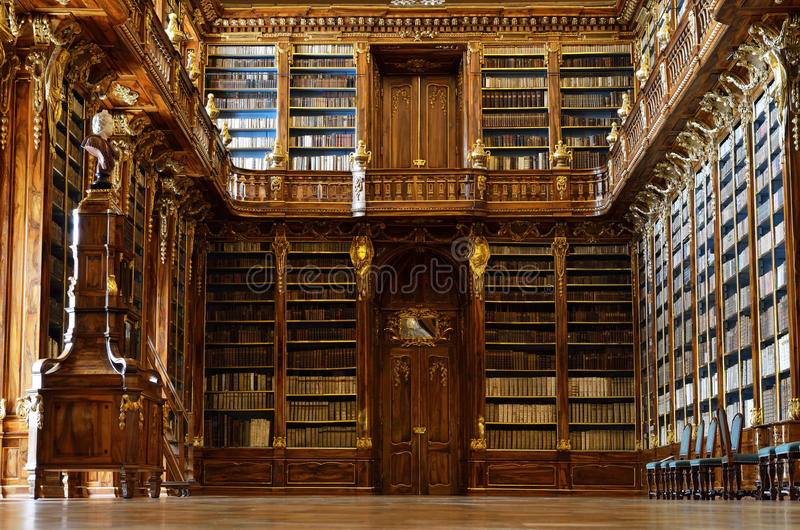 Wisdom of centuries. The Strahov library interior. royalty free stock images