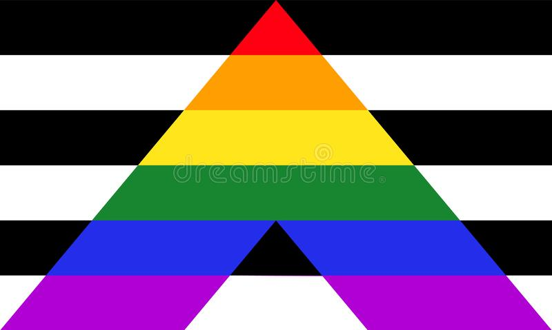 Straight ally pride flag - mix of LGBT and heterosexual communities signs royalty free illustration
