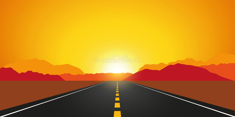 Straight asphalt road in autumn at sunrise mountain landscape vector illustration