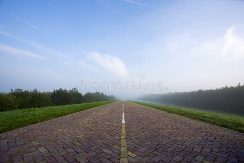 Straight brick road