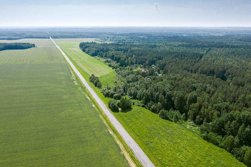 Straight country road between the green agricultural fields and forest. aerial photo royalty free stock image