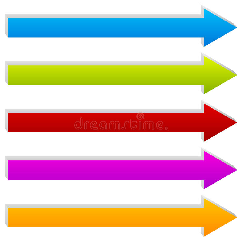 Straight 3d arrows in several colors. Arrow shapes. Royalty free vector illustration royalty free illustration