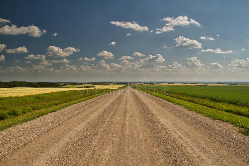 A Straight Dirt Road into the Plains. A dirt road heading straight to the horizon in the Great Plains of Saskatchewan, Canada stock images