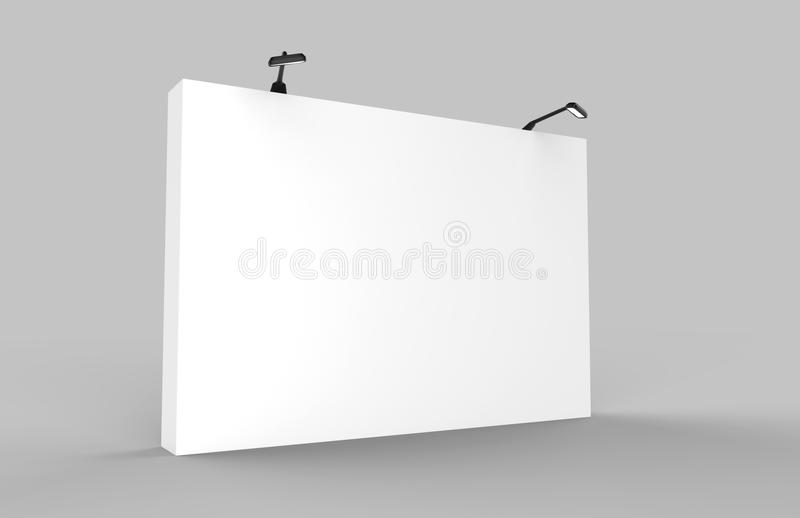 Straight Exhibition Tension Fabric Display Banner Stand Backdrop for trade show advertising stand with LED OR Halogen Light. 3d re. Straight Exhibition Tension vector illustration