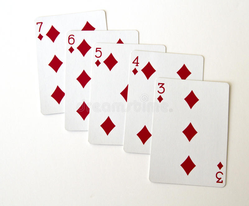 Straight Flush. One of the higher hands in poker, a straight flush stock photography