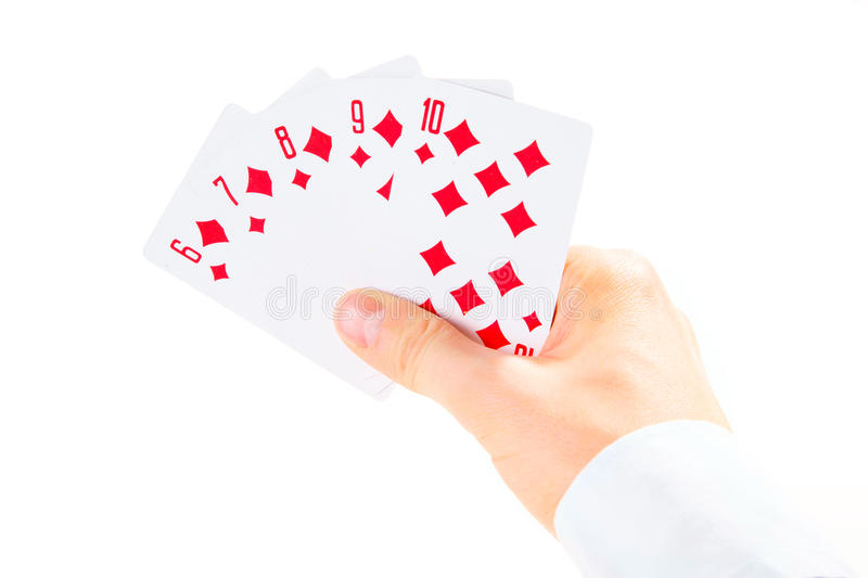 Download Straight Flush Combination Taking By Man's Hand Stock Photo - Image: 13692058