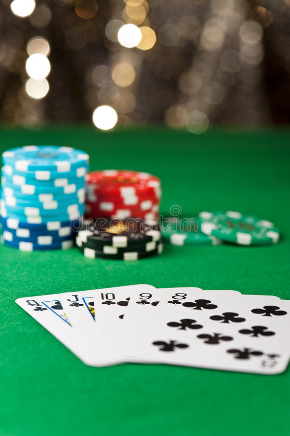 Straight Flush In A Poker Game Royalty Free Stock Photography