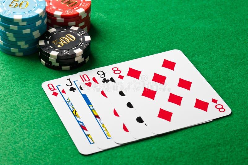 Straight I Poker Royaltyfria Foton