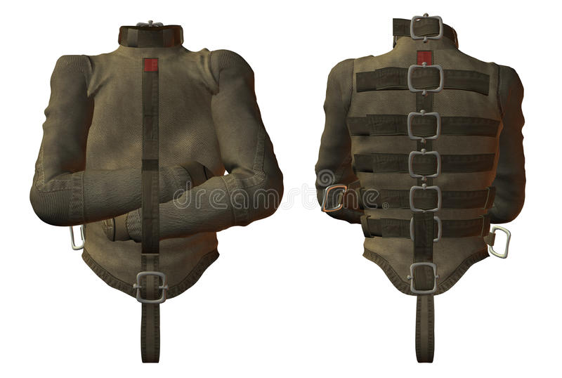 Straight jacket. Front and back views of a straight or restraining jacket. White background vector illustration
