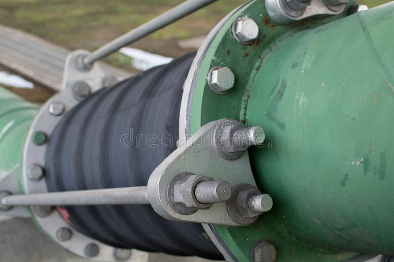 Straight line of potable water pipe on sunrise. The Straight line of potable water pipe on sunrise stock photography
