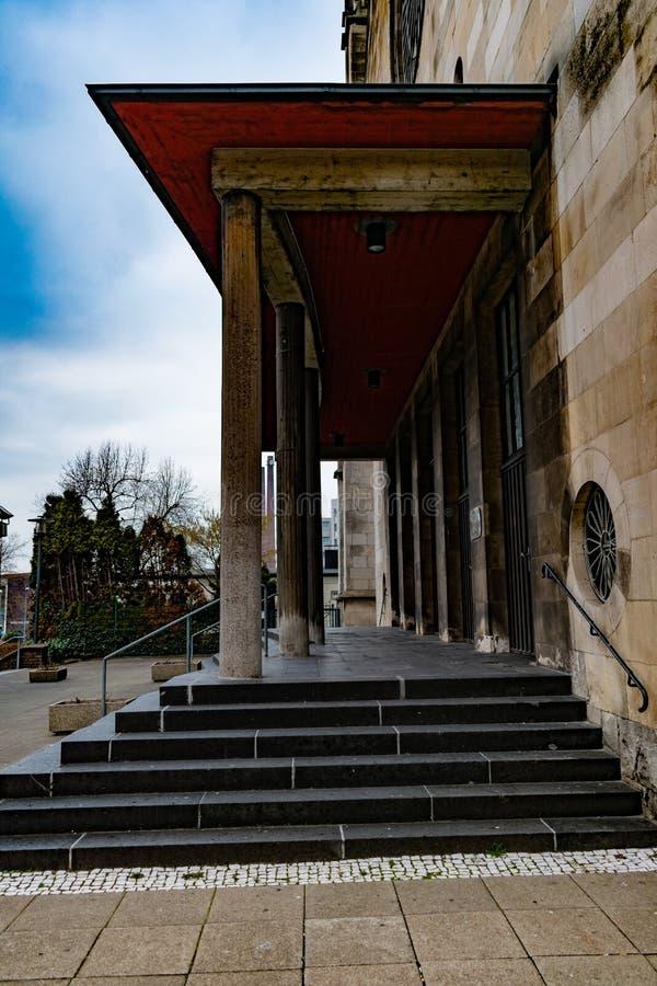Straight line view through pillared church entrance royalty free stock photos