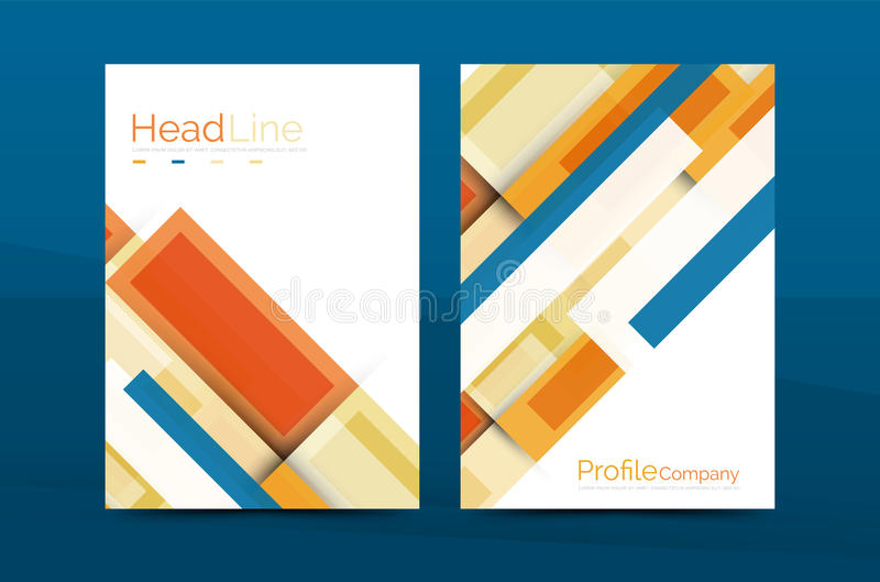 Straight lines geometric business report templates vector illustration