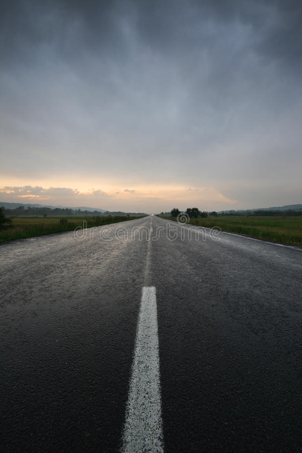 Download Straight Lonely Road At Sunset After Storm Stock Image - Image: 18196093