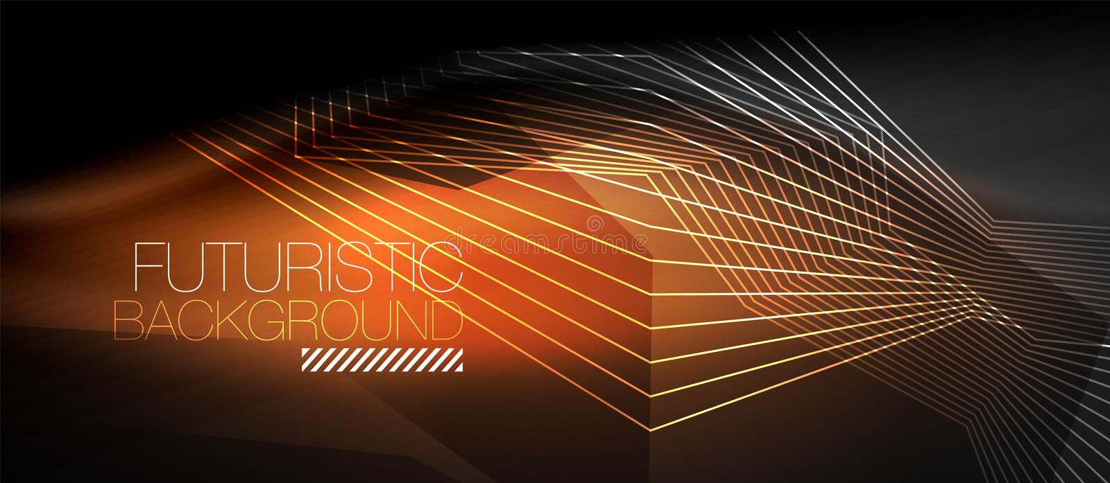 Straight neon lines. In dark space, vector techno abstract template stock illustration