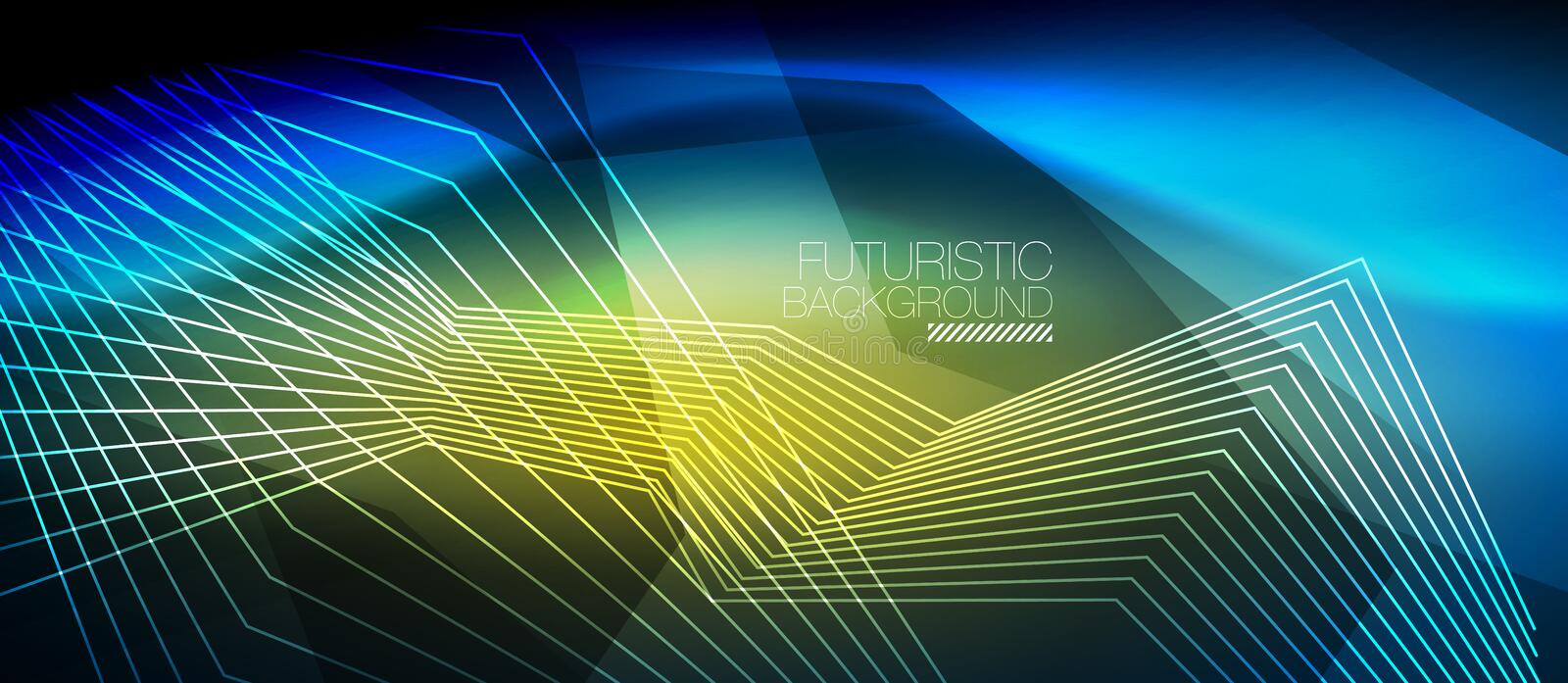 Straight neon lines. In dark space, vector techno abstract template vector illustration